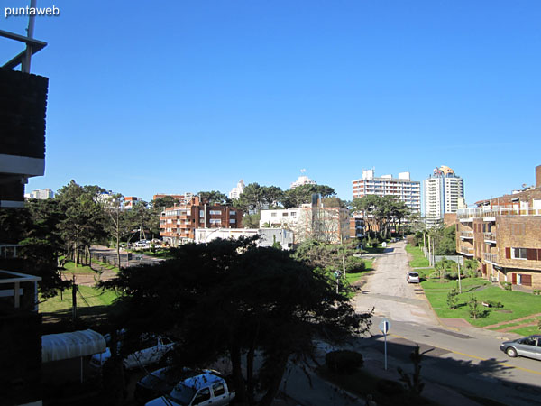 View from balcony terrace to the east on residential neighborhood.