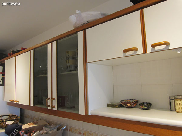 Detail of shelves in the kitchen.