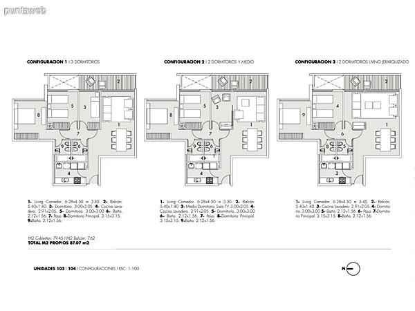 Plano de unidades de 2, 2 y medio y 3  dormitorios.<br>Estas unidades se ubican en el contrafrente del edificio.<br>Poseen vistas al Océano Atlántico y playa Brava.