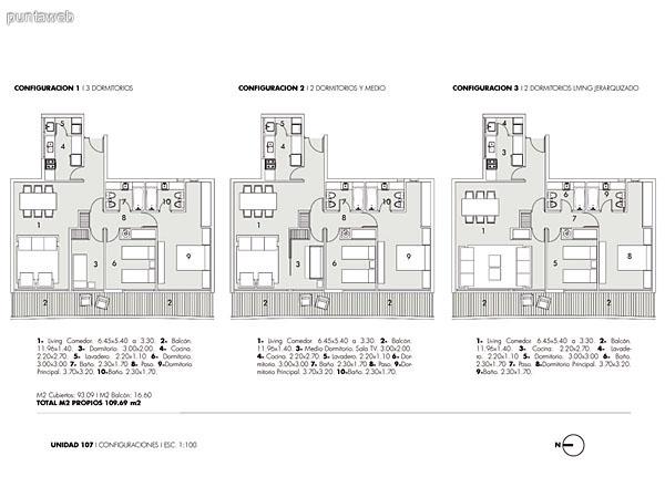 Plano de unidades de 2, 2 y medio y 3  dormitorios.<br>Estas son unidades frontales con vistas a playa Mansa y Península.<br>Orientación sur.
