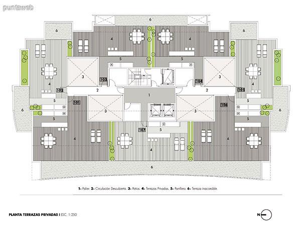 Plano de las terrazas de los penthouse.<br>Parrilleros individuales por unidad y deck solarium.