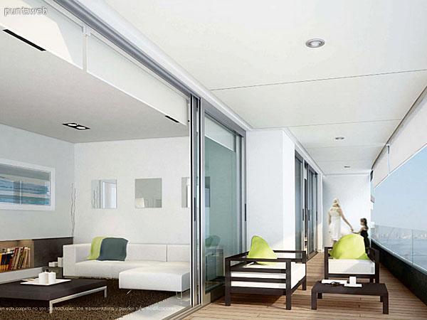 Vista de la terraza de una unidad.<br>Accesos desde living y dormitorios.