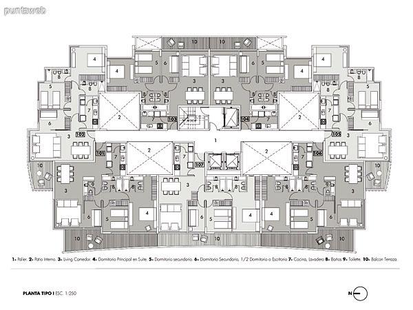 Plano de una planta tipo.<br>Se encuentran 7 unidades de 2, 2 y medio y 3 dormitorios.