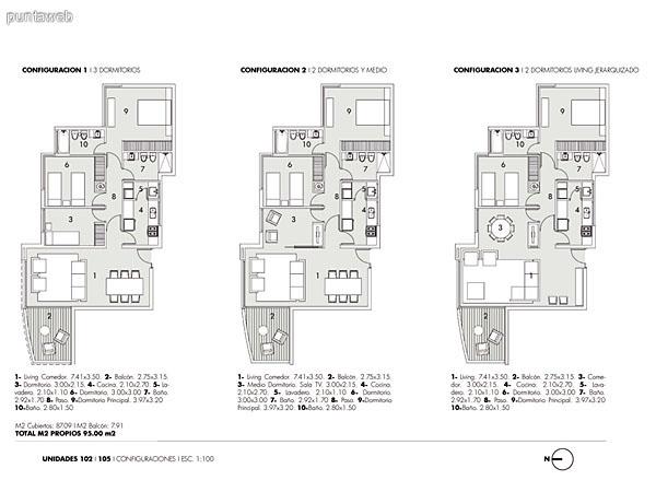 Plano de unidades de 2, 2 y medio y 3  dormitorios.<br>Estas son unidades laterales del ala norte del edificio.