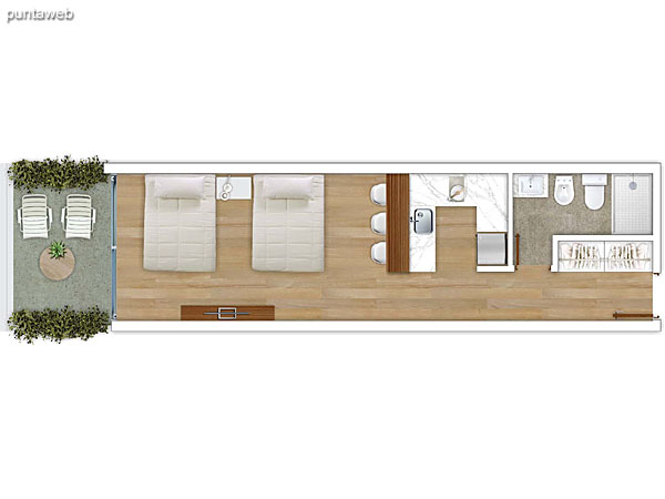 101 &ndash; 1 dormitorio.<br>Área total: 74.71 m²