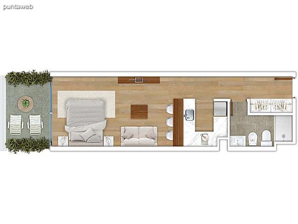 102 &ndash; Monoambiente.<br>Área total: 42.66 m²