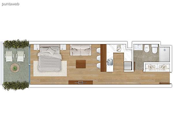 104 &ndash; Monoambiente.<br>Área total: 44.75 m²