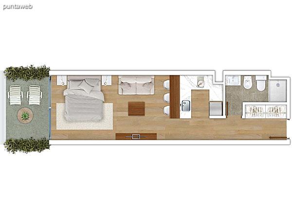 105 &ndash; Monoambiente.<br>Área total: 44.75 m²