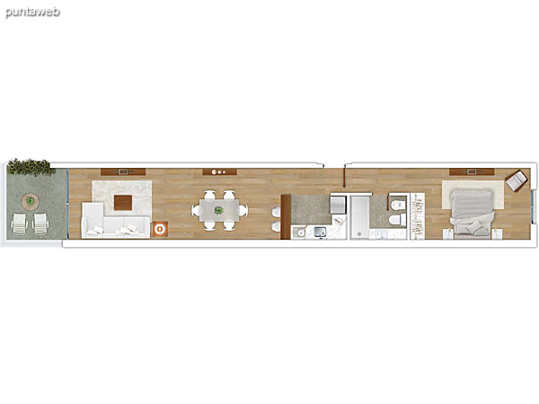 106 &ndash; Monoambiente.<br>Área total: 42.66 m²