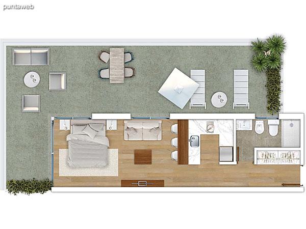 110 &ndash; Monoambiente.<br>Área total: 35.13 m²