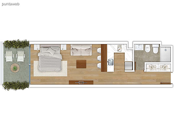 203 &ndash; Monoambiente.<br>Área total: 45.76 m²