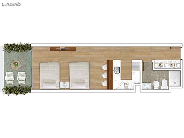 204 &ndash; Monoambiente.<br>Área total: 45.76 m²