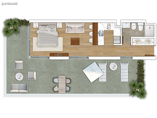 205 &ndash; Monoambiente.<br>Área total: 62.02 m²