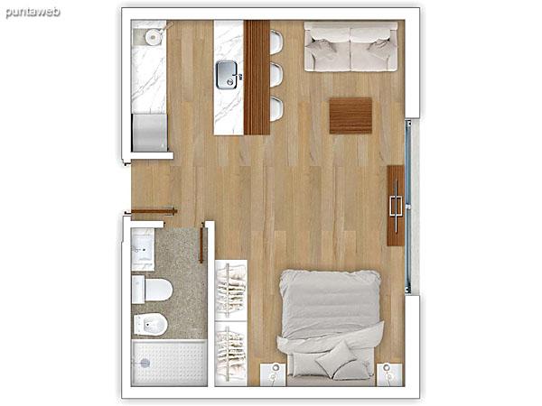 207 &ndash; Monoambiente.<br>Área total: 36.02 m²