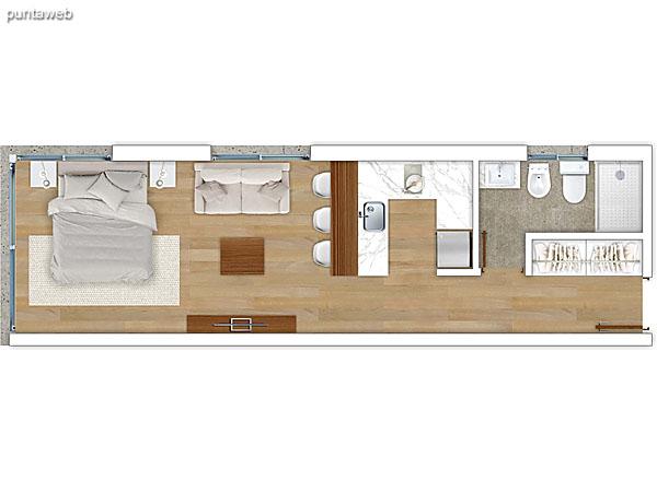 208 &ndash; Monoambiente.<br>Área total: 48.61 m²