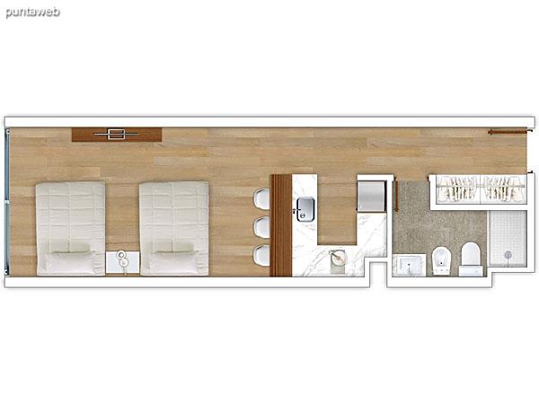 301 al 601 &ndash; Monoambiente.<br>Área total: 40.06 m²