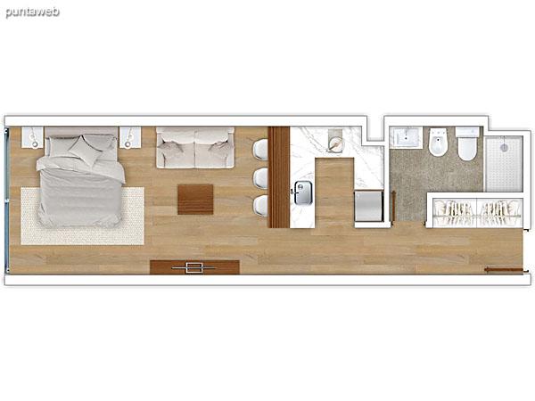 302 al 602 &ndash; Monoambiente.<br>Área total: 40.06 m²