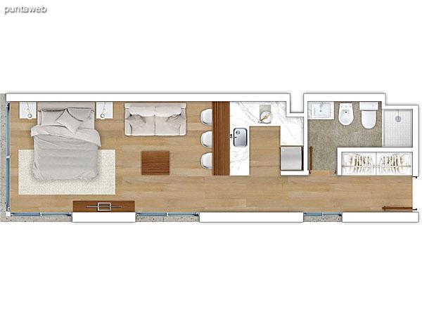 304 al 604 &ndash; Monoambiente.<br>Área total: 40.06 m²