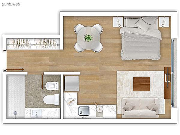 306 al 606 &ndash; Monoambiente.<br>Área total: 38.59 m²