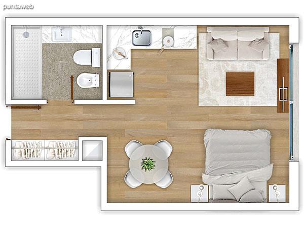 308 al 608 &ndash; Monoambiente.<br>Área total: 39.23 m²