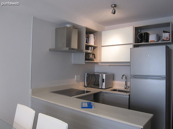 Cocina tipo americana, interior. Equipada con anafe digital de cuatro hornallas, campana extractora, horno eléctrico, horno microondas, heladera con freezer y demás electrodomésticos.