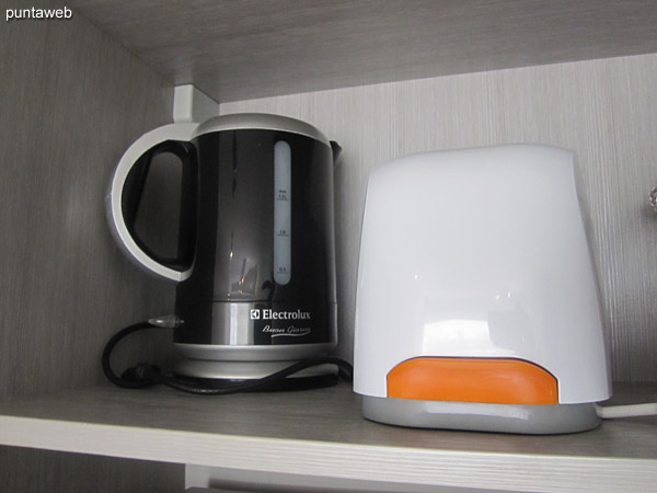 Coffee maker, boiler and toaster.