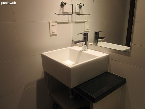 Bathroom, interior. Equipped with screen and shower.