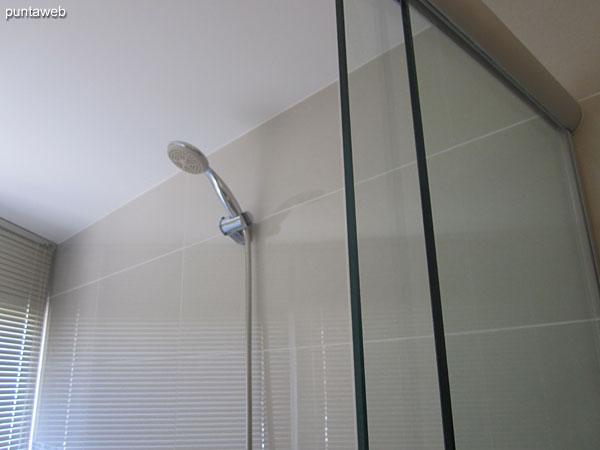 Detalle de mampara y ducha en el ba�o de la suite principal.