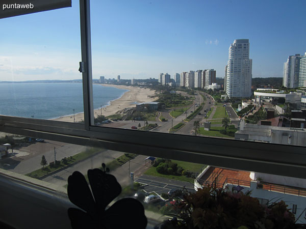 View towards the bay of Punta del Este along the Mansa beach from the enclosed balcony.