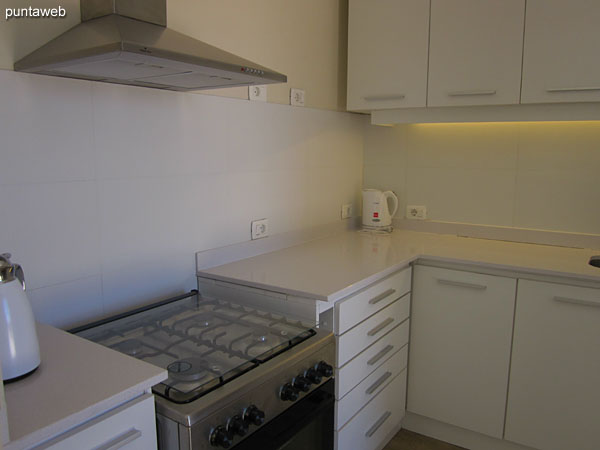 The Baracoa space is complemented by a kitchen, refrigerator with freezer and microwave oven.