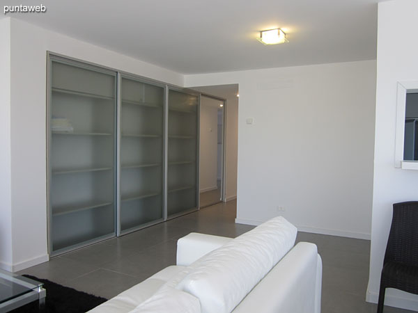 The side of the living room has a large wardrobe / closet with glass doors.