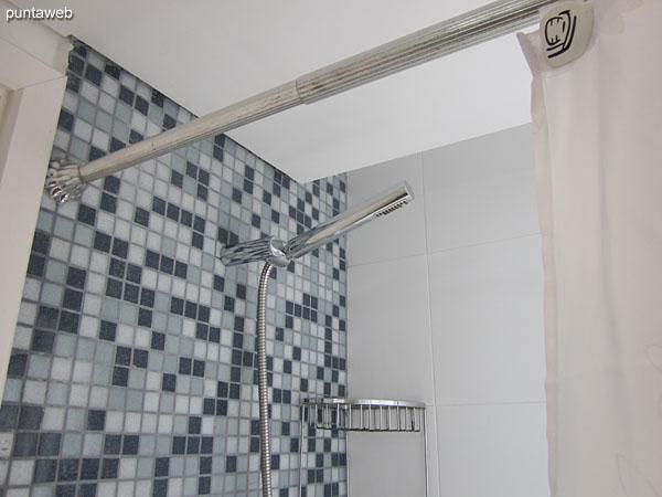 Suite con ducha, bañera y cortina de baño.