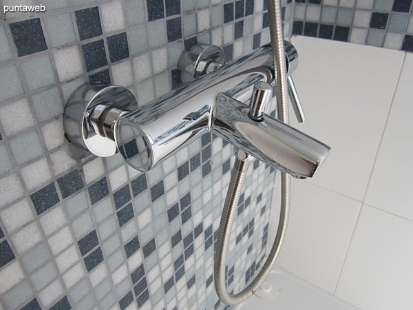 Detail of taps in the bathroom of the suite.
