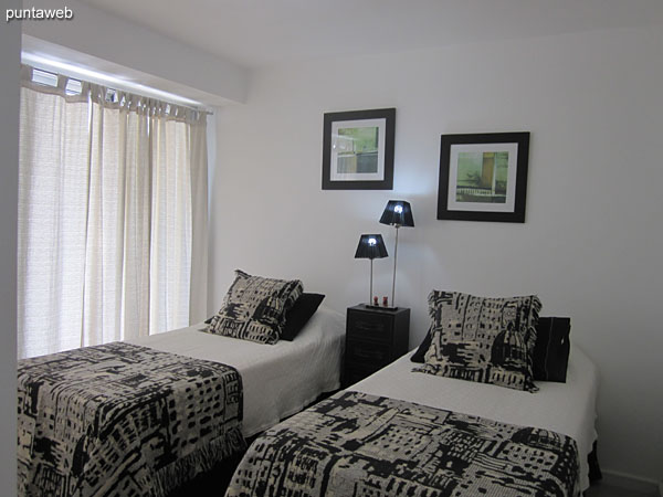 Second bedroom Located towards the west side with access to own terrace balcony.<br><br>Equipped with two single beds.