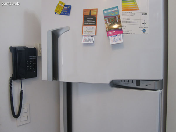 Refrigerator with freezer.