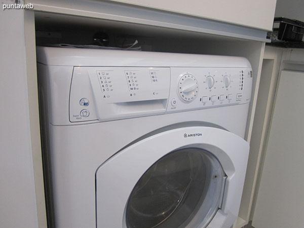 Washing machine in the kitchen.