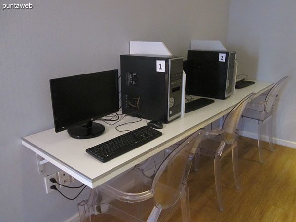 Space with computers and internet access in the games room.