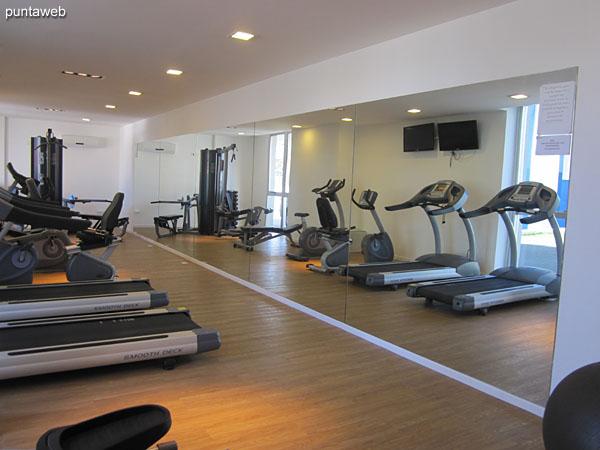 Gimnasio situado en planta baja. Equipado con cintas, bicicletas fijas y equipos de pesas.