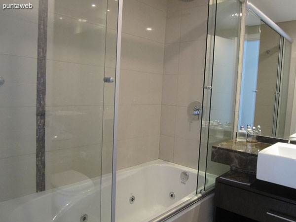 Bathroom of the suite. Interior, equipped with shower, screen and hydromassage.