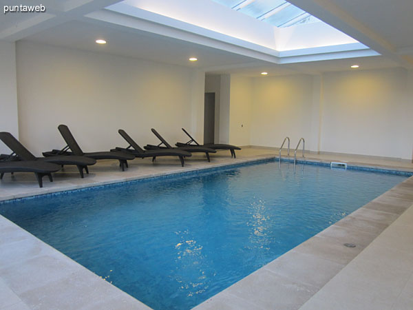 Indoor heated pool building.