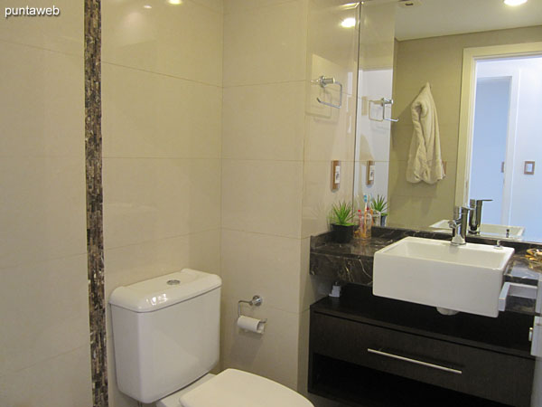 Bathroom of the third suite. Interior, equipped with shower and bath screen.