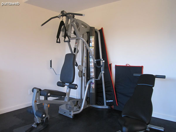 Fitness center. Well equipped and overlooking the surrounding garden.