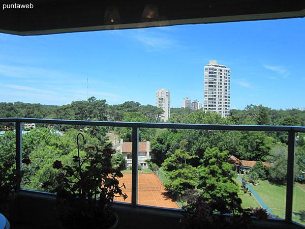 Vista desde el living comedor hacia el lateral sur sobre entorno de amenidades al aire libre del edificio y barrio residencial.