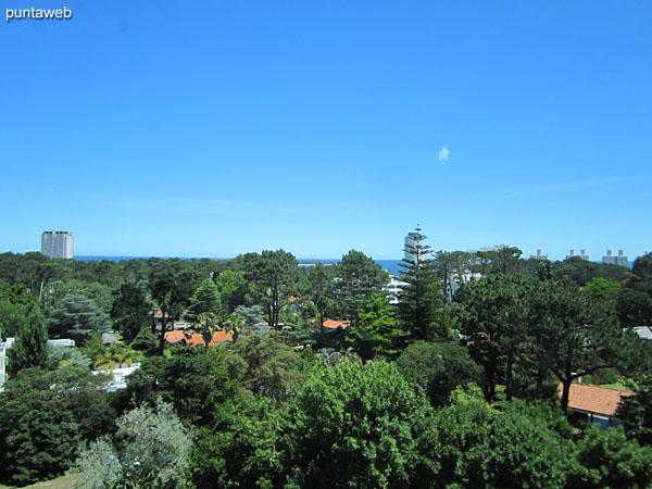 Vista desde la suite hacia entorno de barrio residencial en dirección a la playa Mansa.