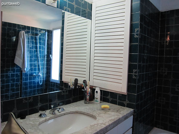 Bathroom of the suite. Equipped with shower with bath screen and bathtub.