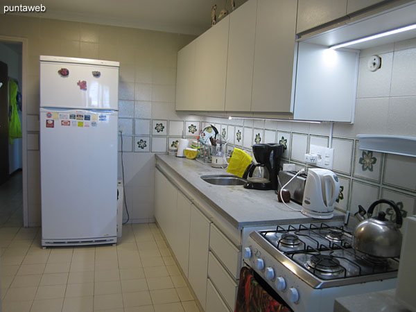 Kitchen equipped with countertops with simple bacha, furniture and shelves under and over counter.