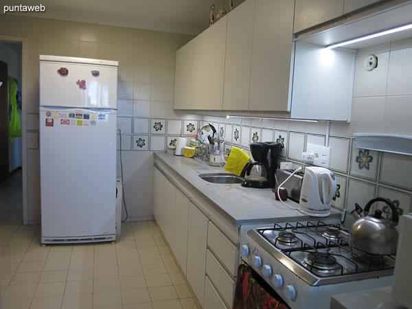 Cocina equipada con mesada con bacha simple, muebles y estantes bajo y sobre mesada.