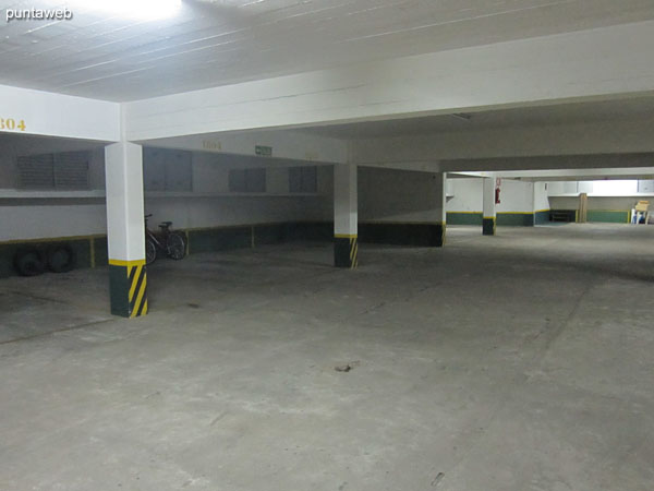 The apartment has a garage in the basement.