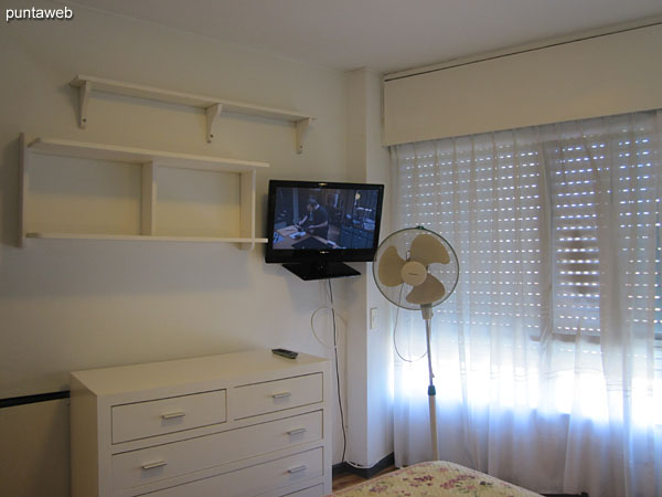 Third bedroom. Located towards the front of the apartment. Conditioned with double bed, TV with cable and window with electric blinds.