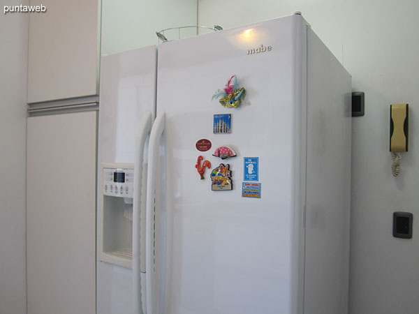 Large refrigerator with freezer.